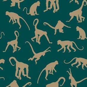 Monkeys - Tan on Jungle Green - Small