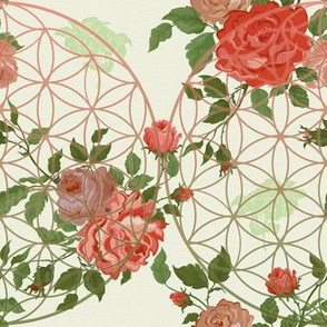 Vintage Roses Flower of Life