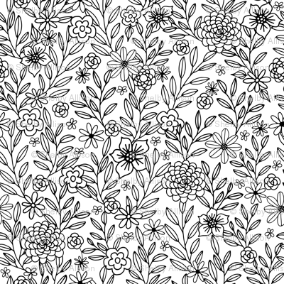 Color In Floral Doodles Fabric