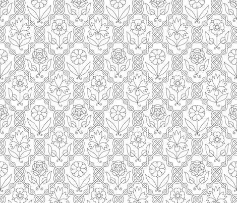 Elizabethan Floral Lattice Blackwork fabric by sidney_eileen on Spoonflower - custom fabric