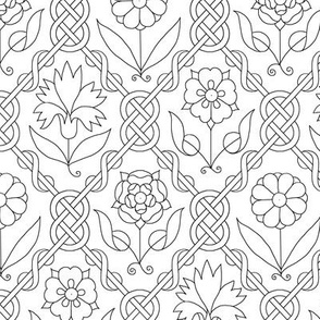 Elizabethan Floral Lattice Blackwork