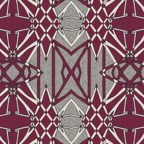 Geometric Motif in Red and Gray