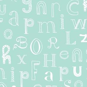 Cool kids alphabet abc back to school design type text font fabric mint