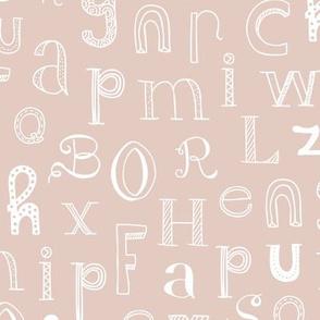 Cool kids alphabet abc back to school design type text font fabric gender neutral beige