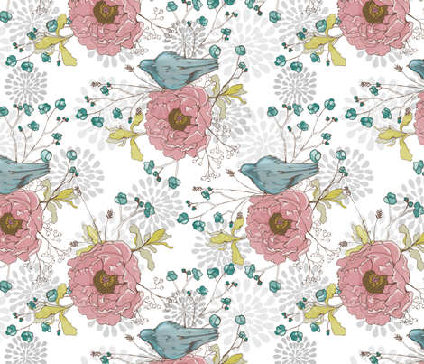 Blue Bird Peonies 2 fabric by fat_bird_designs on Spoonflower - custom fabric