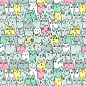 Bright cats pattern SMALL scale