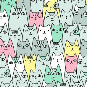 Bright cats pattern MEDIUM scale
