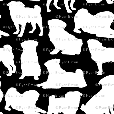 Pug Silhouettes - Black // Large
