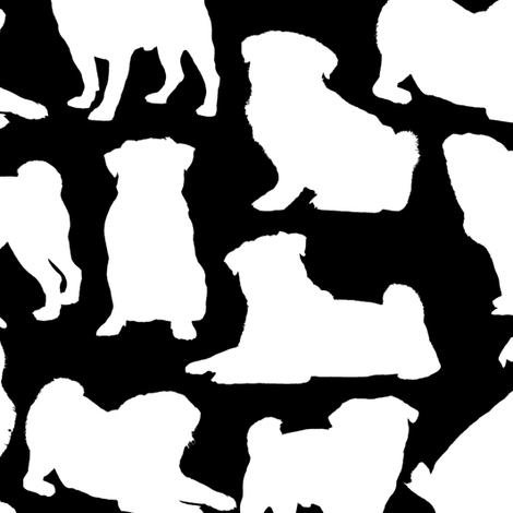 Pug Silhouettes - Black // Large  fabric by thinlinetextiles on Spoonflower - custom fabric