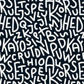 Black and White Letters Hand-Drawn Typography Alphabet