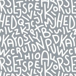 Grey Letters Hand-Drawn Typography Alphabet