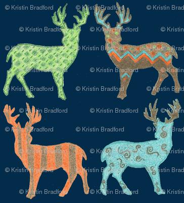 Meadow Deer in Multi with Navy