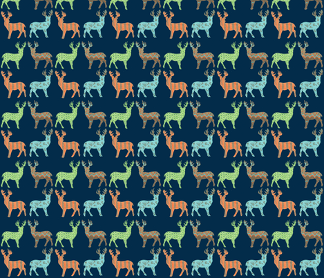 Meadow Deer in Multi with Navy fabric by kbexquisites on Spoonflower - custom fabric