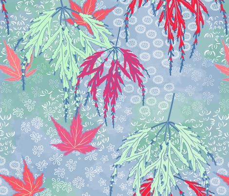 japanese maple garden fabric by alphabetsoup on Spoonflower - custom fabric