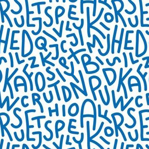 Blue Letters Hand-Drawn Typography Alphabet
