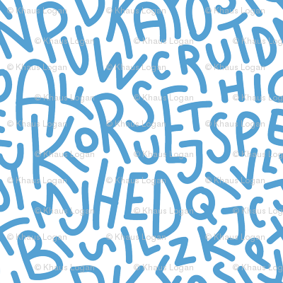 Carolina Blue Letters Hand Drawn Typography Alphabet