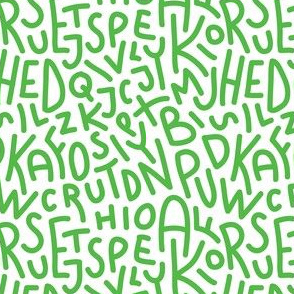 Lime Green Letters Hand-Drawn Typography Alphabet