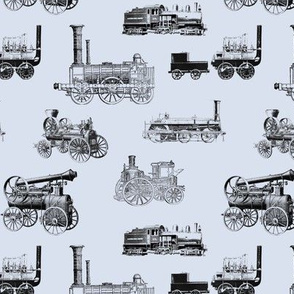 Antique Steam Engines on Steel Grey // Small
