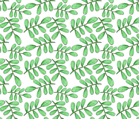 rounded leafy branches fabric by swoldham on Spoonflower - custom fabric