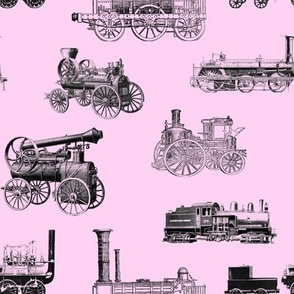 """Antique Steam Engines on Pink // Large (3.5"""")"""