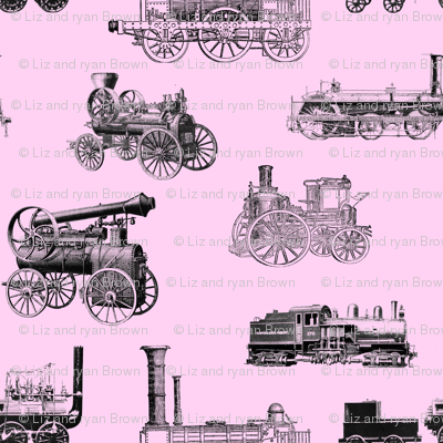 Antique Steam Engines on Pink // Small