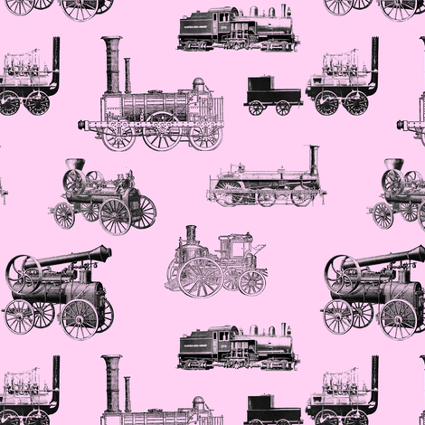 Antique Steam Engines on Pink // Small fabric by thinlinetextiles on Spoonflower - custom fabric