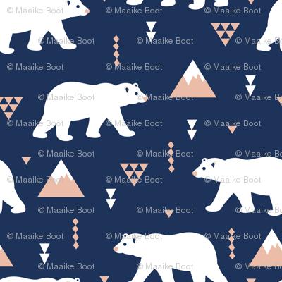 Dark night polar bears geometric winter woodland design for kids