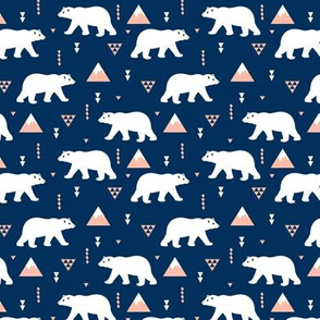 Dark night polar bears geometric winter woodland design for kids