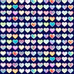 Small Watercolour Hearts (navy variant)