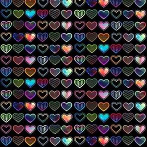 Small Watercolour Hearts (black variant)