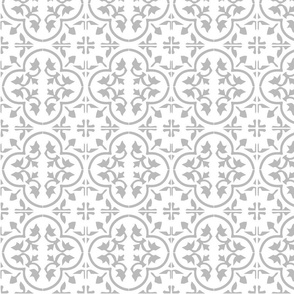 Grey Gray Light Moroccan Cement Tile Encaustic Tile Wallpaper & Fabric