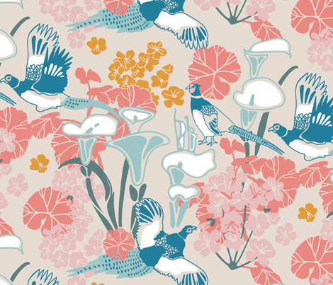 Pheasants in pink and blue fabric by lburleighdesigns on Spoonflower - custom fabric