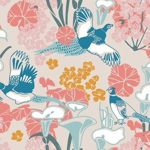 Pheasants in pink and blue
