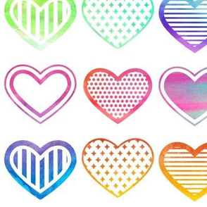 Large Watercolour Hearts