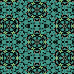Geometric Pattern in Teals, Blues, Greens & Blacks & Corals