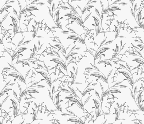 Soft grey vines and leaves fabric by lucaswoolleydesigns on Spoonflower - custom fabric