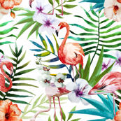 Flamingo Topical Hawaii Watercolor Tucan Parrot Flowers Pineapple