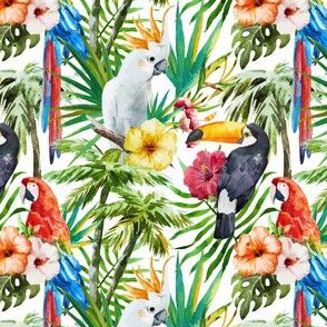 Topical Hawaii Watercolor Hibiscus Tucan Parrot Flowers Pineapple
