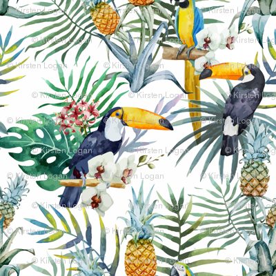 Topical Hawaii Watercolor Tucan Parrot Flowers Pineapple