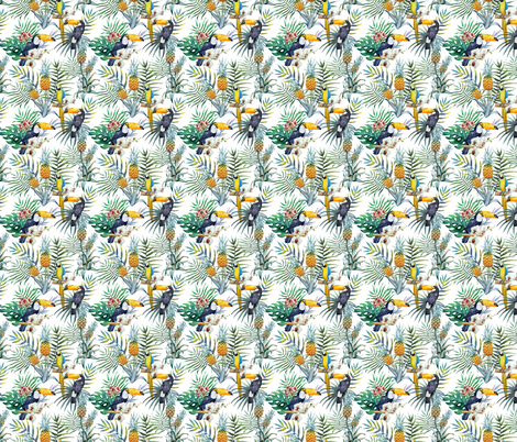 Topical Hawaii Watercolor Tucan Parrot Flowers Pineapple fabric by furbuddy on Spoonflower - custom fabric