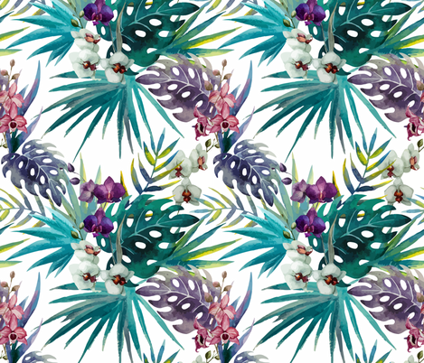 Topical Hawaii Watercolor Orchid Flowers Pineapple fabric by khaus on Spoonflower - custom fabric