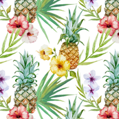 Topical Watercolor Hibiscus Flowers Pineapple