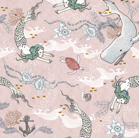 Oceana Mermaids (SMALL) pink fabric by nouveau_bohemian on Spoonflower - custom fabric