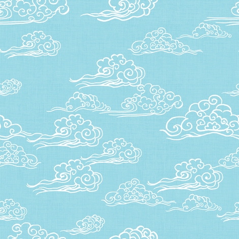 Swirling Clouds, Sky Blue fabric by thistleandfox on Spoonflower - custom fabric