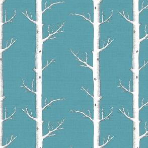 White Forest on Light Teal Linen