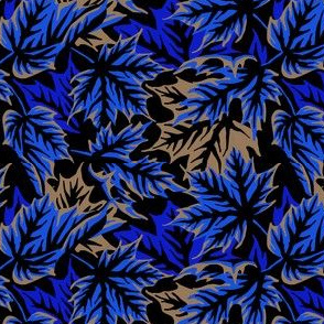 Leaves - blue/beige