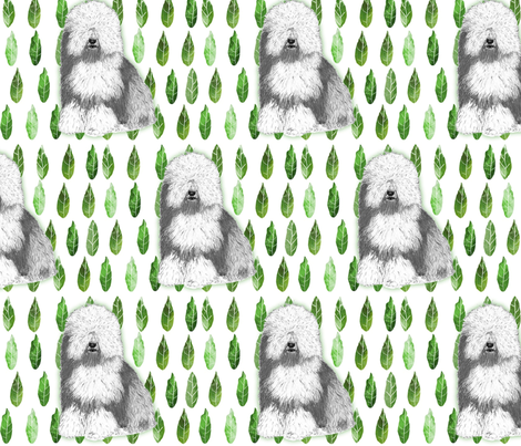 Old English in leaves fabric by sheepiedoodles on Spoonflower - custom fabric