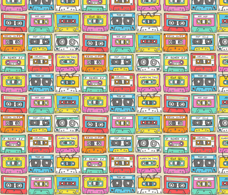 Nostalgia Smaller Audio Music Mix tape fabric by caja_design on Spoonflower - custom fabric