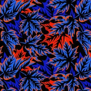 Leaves - Blue/orange