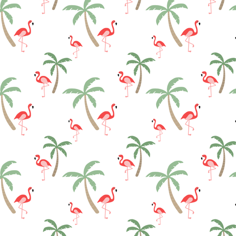 Flamingo & Palm Trees // hawaii print tropical bird tree
